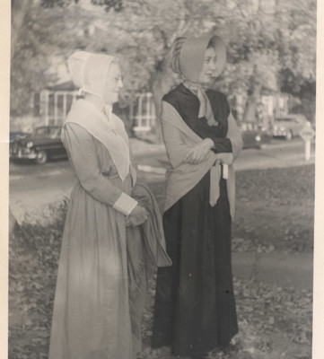 Caroline Warrick and Elizabeth Tait in old clothing belonging to their relatives.