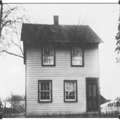 122 West Second Street. Most likely built at the same time as the Steam Flour Grist Mill was built in 1854-1855, by William Brock. Stones from the mill are on display in the yard. More stones were found on Ezra Haines property at 110 Main St.