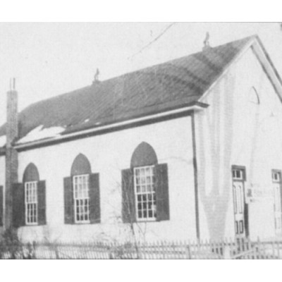 Methodist Church on Second Street, circa 1846. The church was incorporated on Sept. 12, 1844. The first minister was D. Stuart. The original building was constructed in 1846 and later re-built in 1874.