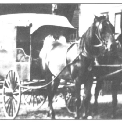 The butcher shop was located at 2nd and Olive Streets. It would deliver meats to village residents by way of this delivery wagon. Special cuts of meat had to be ordered in advance. The butcher was Elwood Hart. Circa 1900's.