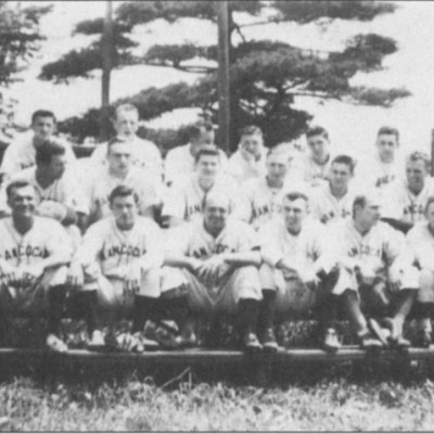 Rancocas Baseball Team, approximately 1948. Some of the players are: Tom Buzby, Bob Parker, Ernie Bowker, Perk Bowker, Keith Bowker, Floyd Parker, Ralph Burkley, Bobby Haines, Dick Buzby, Frank Smith, Buzz Smith, Billy Pettit and Bobby Forvour.