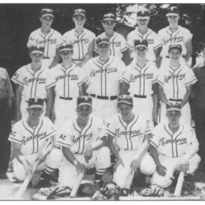 1950 Rancocas Baseball Team. On the far right is Floyd Harper, the father of our Chief of Police. To the left is his grandfather, Bert Lamb. Both are residents. Team members (left to right) Top: Lee Van Sciver, Bobby Garwood, Tony Canulli, Bud Van Sciver, ?. Middle: ?, Jack McGuigan, JoJo Sousa, Bob Lucas, Elwood Cowan. Botton: Kenny Karns, Horace Randall, Joey Egan, Ed Randall.